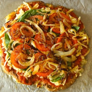 Caramelized Onion-Tomato Smashed Potato Pizza