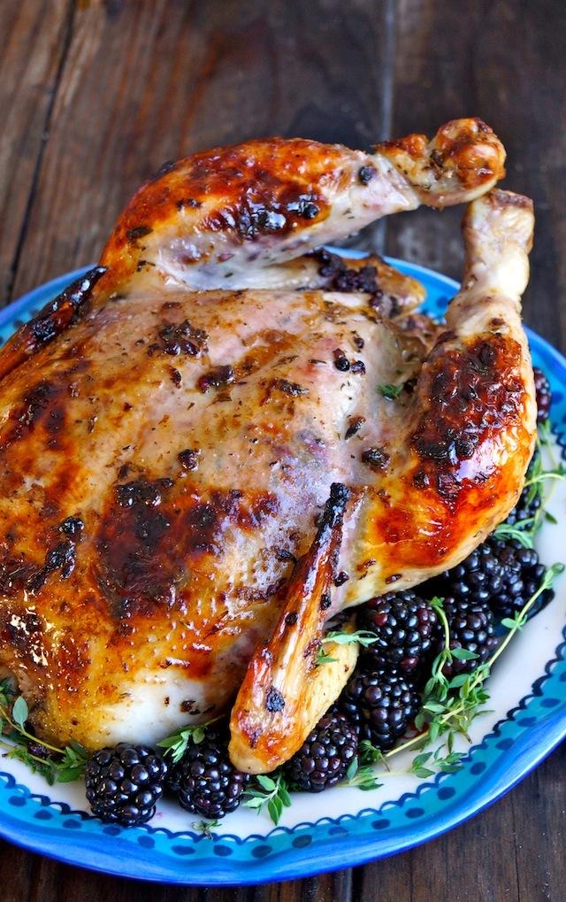 Blackberry Thyme Butter Roasted Chicken