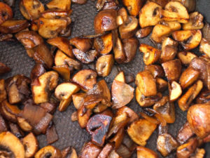 caramelized mushrooms in a saute pan