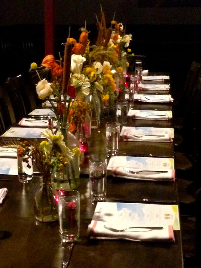 beautiful table wiht flowers at the Salted Pig restaurant