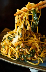 Chinese Noodles with Chicken and Gai Lan on ceramic dish, with chopsticks