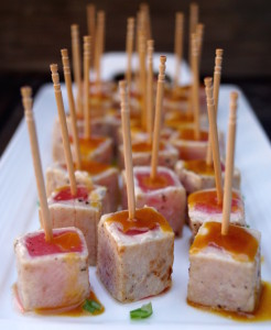 Wasabi Glazed Seared Ahi Tuna Hors d'Oeuvre Recipe