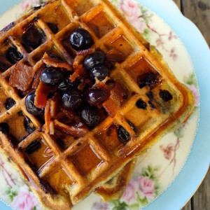Brown Butter Blueberry-Bacon Waffle Recipe {Gluten-Free Option}
