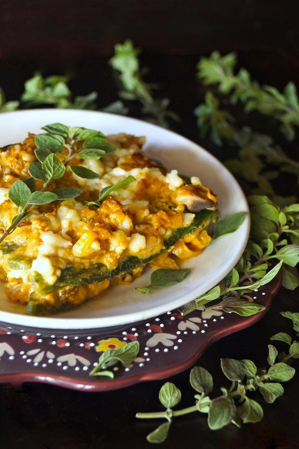 Cacique-Pasilla Mushroom Squash Gratin-fresh oregano-purple | COOKINGONTHEWEEKENDS.COM