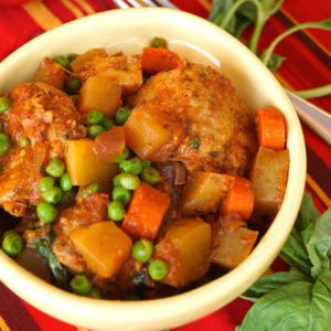 Stove-Top Spiced Turkey Meatball Stew in a white bowl.