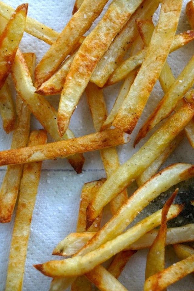crispy roasted low fat fries on paper towel
