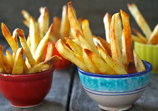 Crispy Oven French Fries in small colorful bowls