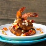 Cajun Spiced Shrimp with Citrus-Cucumber Salsa Recipe-turquoise plate-wood-white plate | COOKINGONTHEWEEKENDS.COM