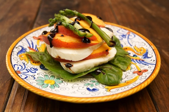 Peach Caprese with Balsamic Glaze and Asparagus
