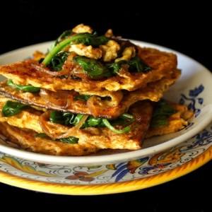 Matzo Brei a la florentine-green-yellow-1 | cookingontheweekends.com