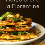 Matzo Brei a la florentine-green-yellow-text | cookingontheweekends.com