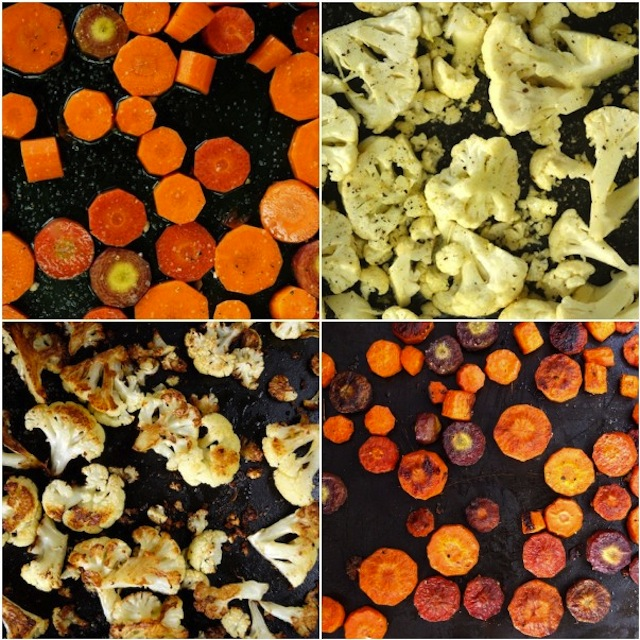 4 images of raw and roasted cauliflower and raw and roasted carrots.