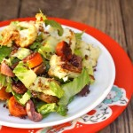 oasted Vegetable Salad with Quinoa Crisps-salad-roasted vegetables-red plate-white plate-wooden table | ccookingontheweekends.com