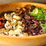 Roasted Vegetable Salad with Quinoa Crisps-salad-wood bowl-lettuce-olives-cauliflower | cookingontheweekends.com