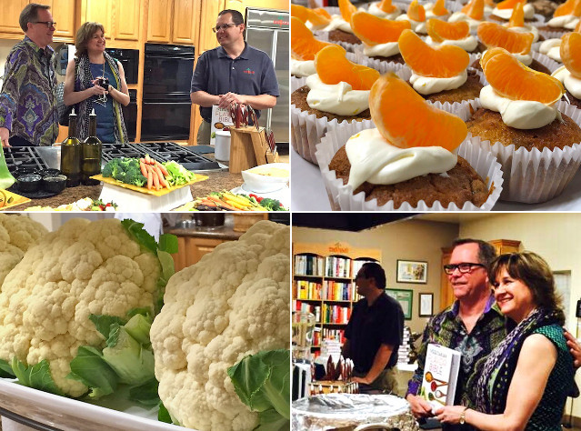 Scenes from book signing for the Vegetarian Flavor Bible - the authors, cauliflower and dessesrts with oranges.