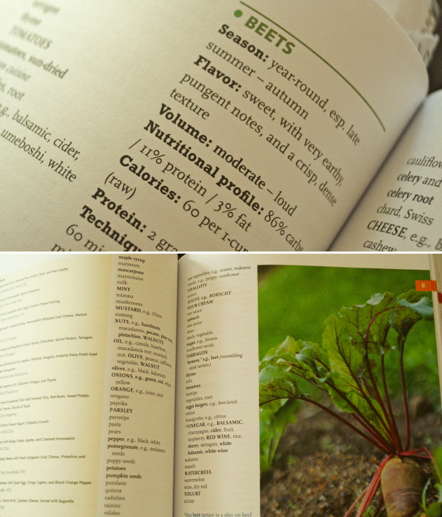 Inside pages of the Vegetarian Flavor Bible.