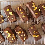 Frozen Chocolate Pistachio Truffle Bars-red-pink-brown-cooling rack | cookingontheweekends.com