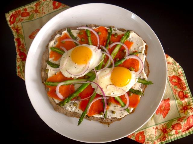 Smoked Salmon-Asparagus Breakfast Pizza