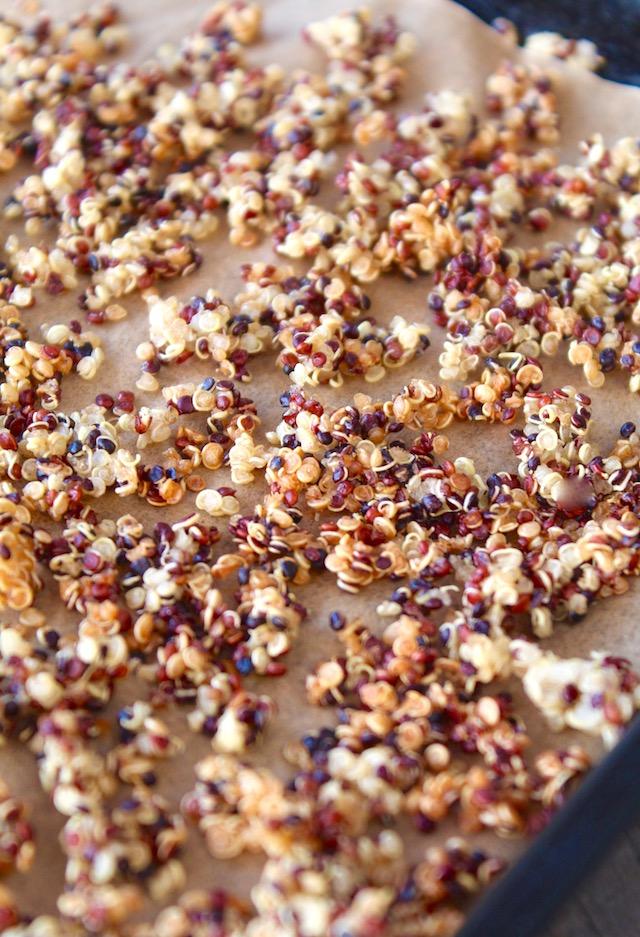 Quinoa Crisps on a baking sheet