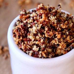 quinoa crisps in small white dish