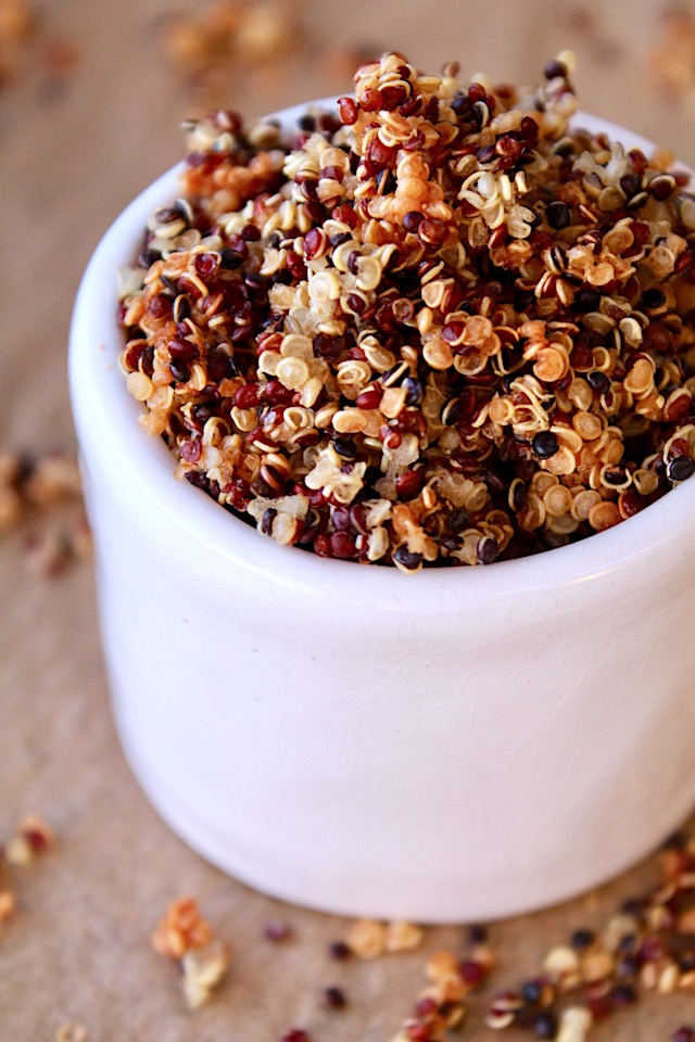 Quinoa Crisps in a white ceramic up