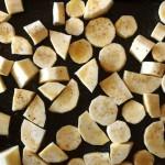 chopped parsnips-baking sheet