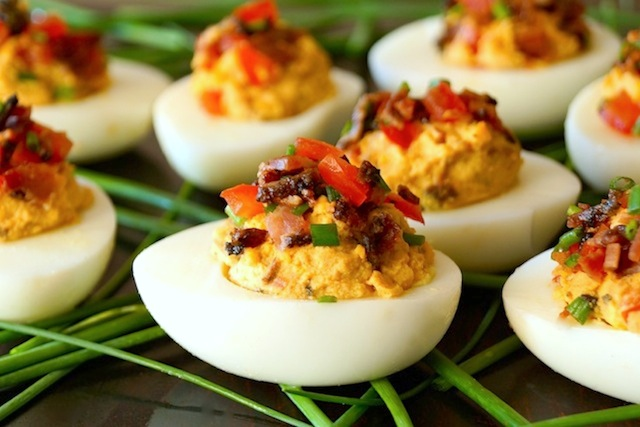 Tomato-Bacon-Chipotle Deviled Eggs-chives-green-white-hard boiled eggs ...