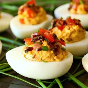 Smoky Tomato-Bacon-Chipotle Deviled Eggs-chives-green-white-hard boiled eggs.1 | cookingontheweekends.com
