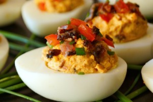 Smoky Tomato-Bacon-Chipotle Deviled Eggs-chives-green-white-hard boiled eggs| cookingontheweekends.com