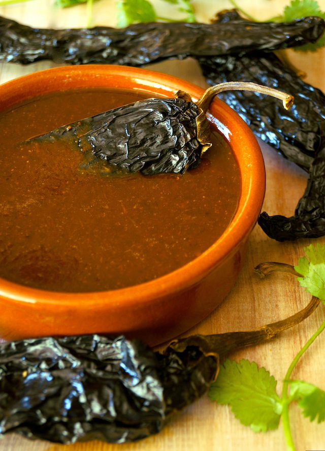 Smoky Poblano Enchilada Sauce and Pasta Duros-green-clay-ceramic-herbs-terracotta | cookingontheweekends.com