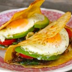 The Breakfast Taco-fried eggs-yellow-red-wood table | cookingontheweekends.com