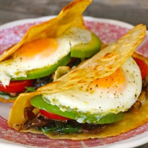 The Breakfast Taco-fried eggs-yellow-red-wood table   cookingontheweekends.com