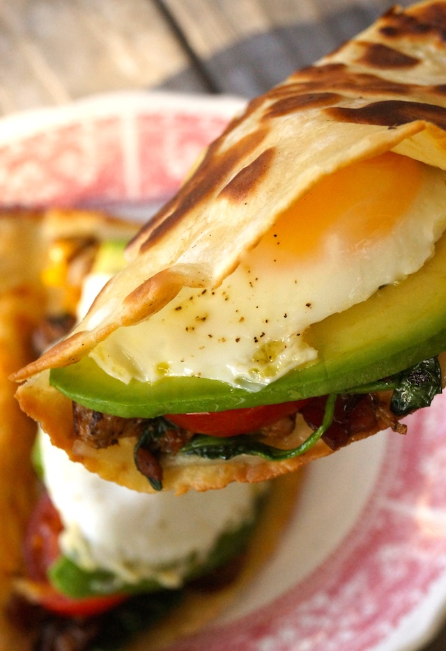 Close up of a Breakfast Taco with egg and avocado