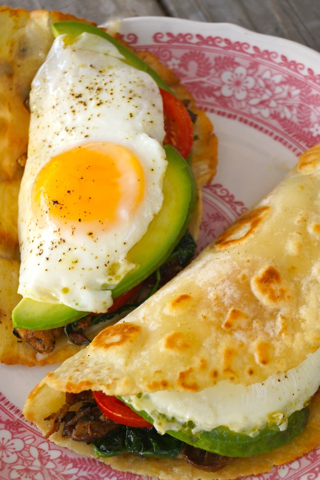 The Breakfast Taco-fried eggs-yellow-tortilla-red | cookingontheweekends.com