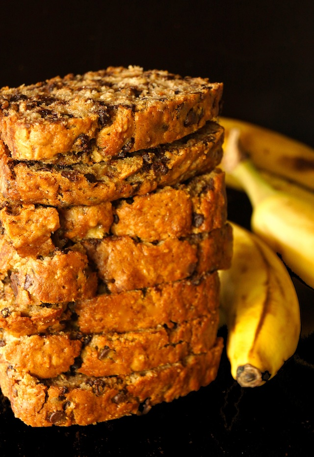 Tall stack of piced Olive Oil Chocolate Chip Banana Bread slices