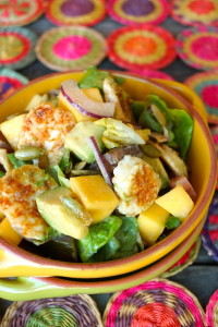 "CACIQUE-Mango-Avocado Salad with Panela ""Croutons"" and Chipotle Crema Mexicana-pink-green-gold-ceramic bowls 