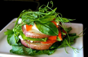 pSnow Pea Shoot Smoked Salmon Potato Stacksea-green-salmon-orange | cookingontheweekends.com