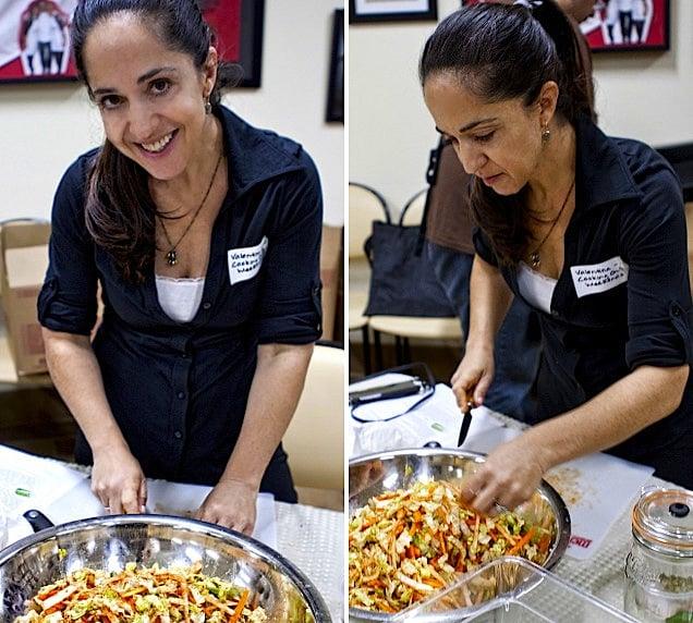 Valentina making kimchi