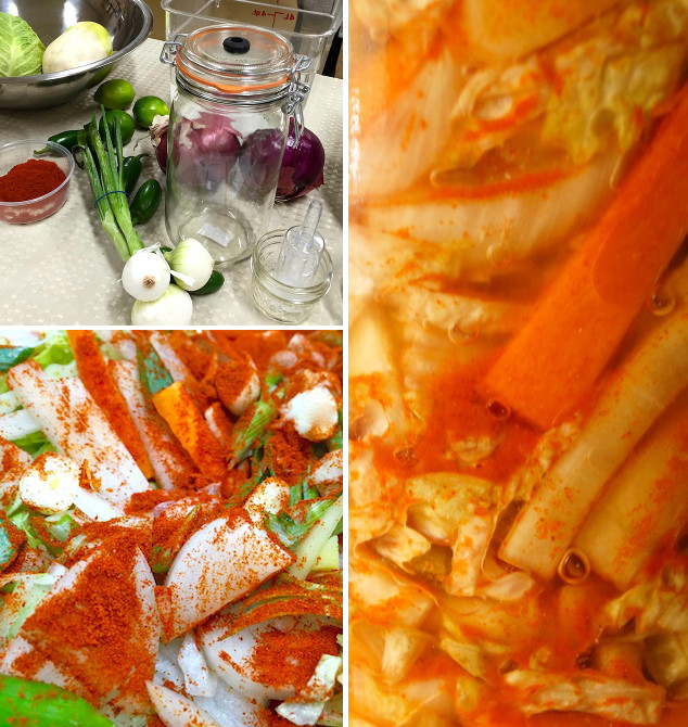 three pictures of vegetables for kimchi with spices