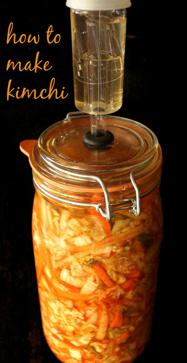 Kimchi in a tall jar