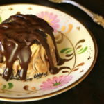 Individual Coffee-Chocolate Mud Pie on a floral plate