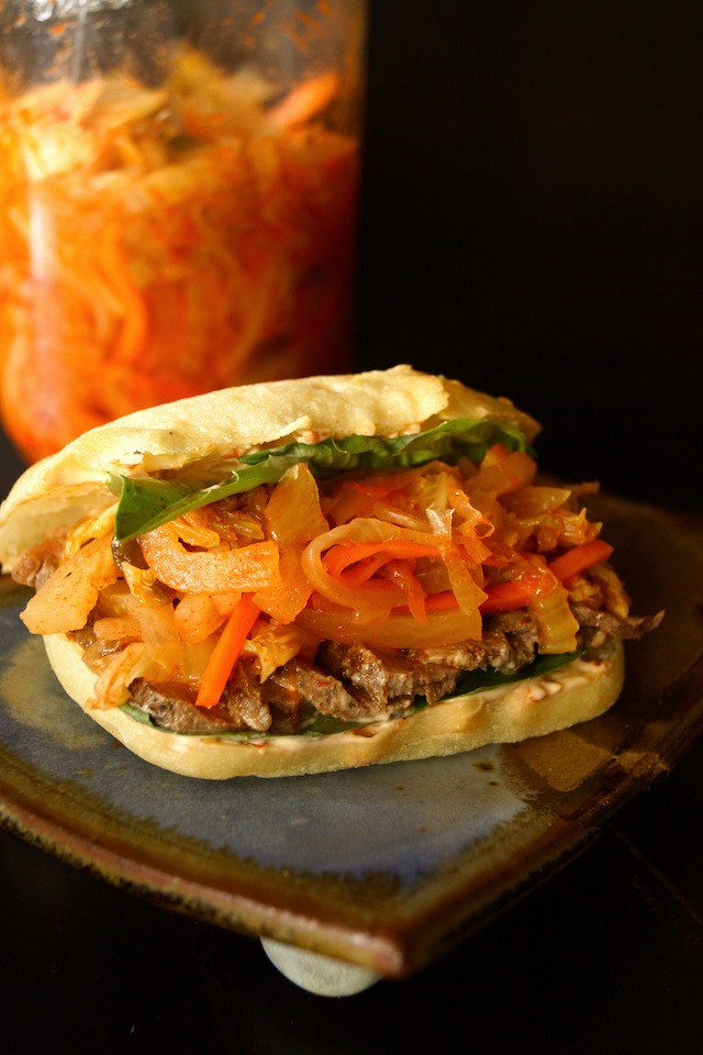 Grilled Sirloin Steak-Kimchi Sandwich with Ginger Chile Aioli