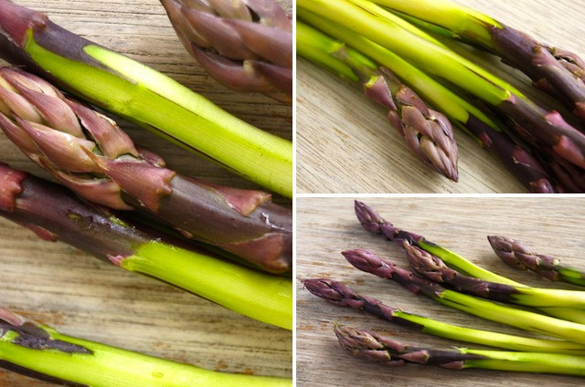 Collage of 3 photos of dark purple asparagus peeled, showing the bright green underneath.