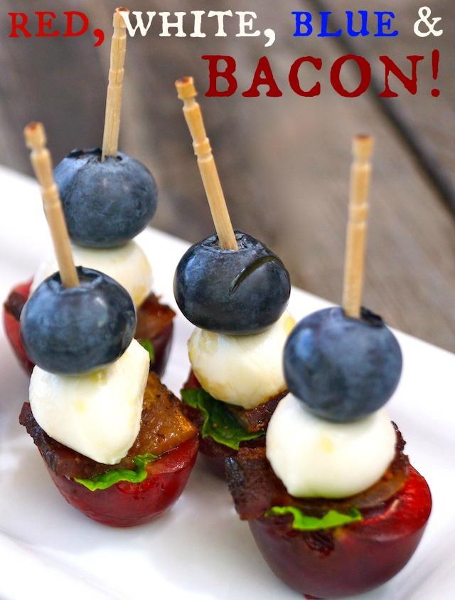 Cherry Bacon Blueberry Kebabs on a bright white plate.