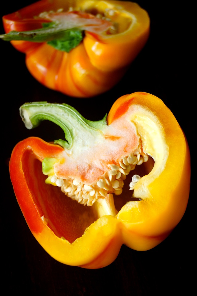 one Enjoya Pepper sliced in half