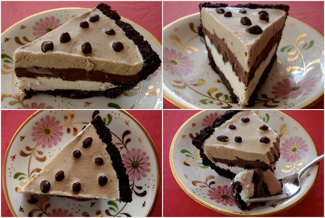 4 different views of a slice Espresso Ice Cream Pie, with chocolate covered espresso beans on top, on pretty pink, floral plates.