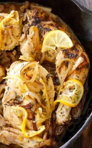 Skillet Braised Chicken Recipe with Cognac Caramelized Lemon-Shallot-Sauce