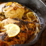 Skillet Braised Chicken in cast iron pan