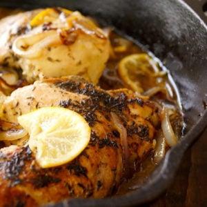 Skillet Braised Chicken in cast iron pan