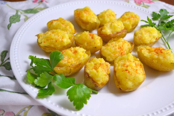 Deviled Potatoes on a white plate with parsley